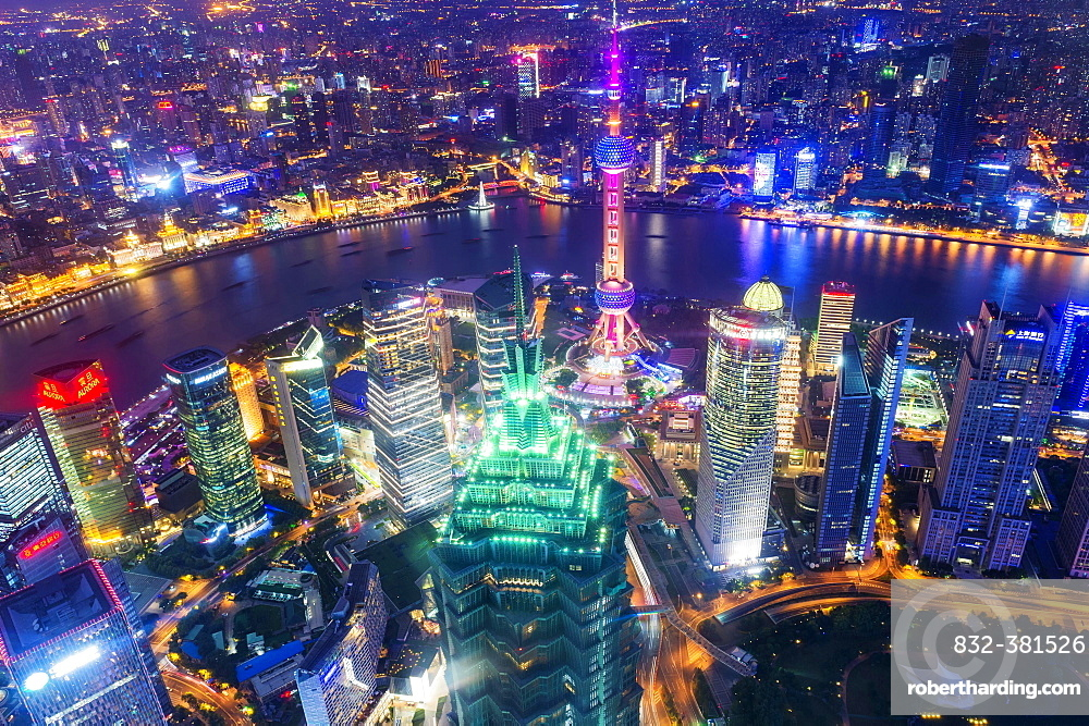 View over Pudong at night, Shanghai, China, Asia