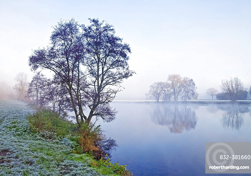 The Ruhr river at dawn in autumn, Witten, Ruhr Area, North Rhine-Westphalia, Germany, Europe