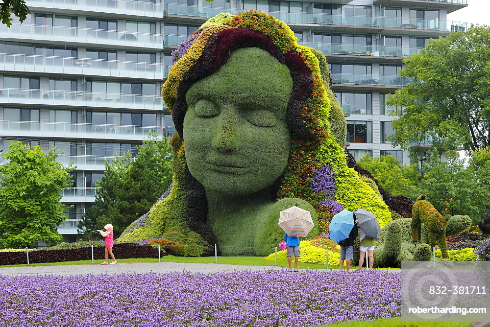Plant sculpture Mother Earth with modern building behind, Gatineau, Quebec Province, Canada, North America