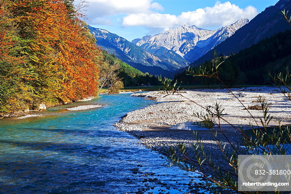Isar river at Vorderriss, Lenggries, Bavaria, Germany, Europe