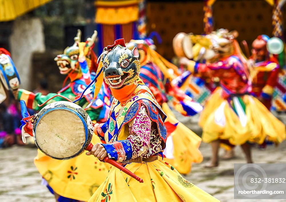 Dancer at Mask Dance, Religious Tsechu Monastery Festival, Gasa District District District Tshechu Festival, Gasa, Himalaya Region, Kingdom of Bhutan