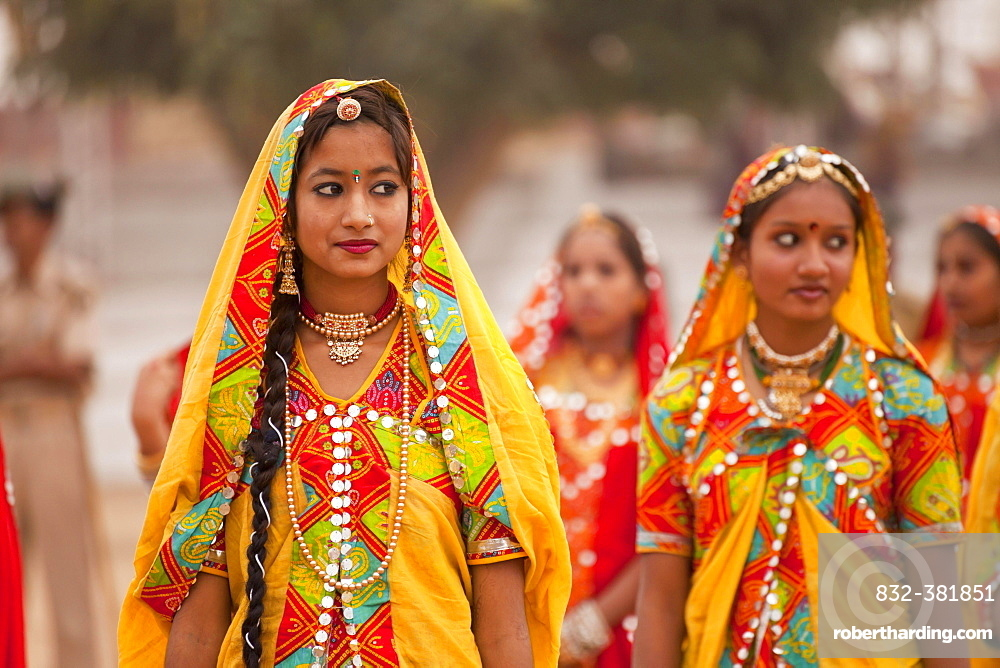 Young women in typical colourful traditional Rajasthani costume at the camel market and livestock market, Pushkar Mela, Pushkar, Rajasthan, India, Asia