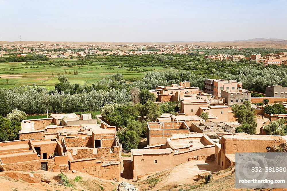 View over El Kelaa and the Valley of Roses, where Damask Roses (Rosa damascena) are grown, Valley of Roses, Dades Valley, southern Morocco, Morocco, Africa