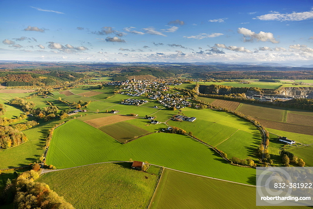Aerial view, meadows at Kallenhardt, Ruthen, Sauerland area, North Rhine-Westphalia, Germany, Europe