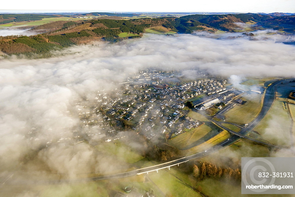 Low clouds over Olsberg, aerial view, Sauerland region, North Rhine-Westphalia, Germany, Europe
