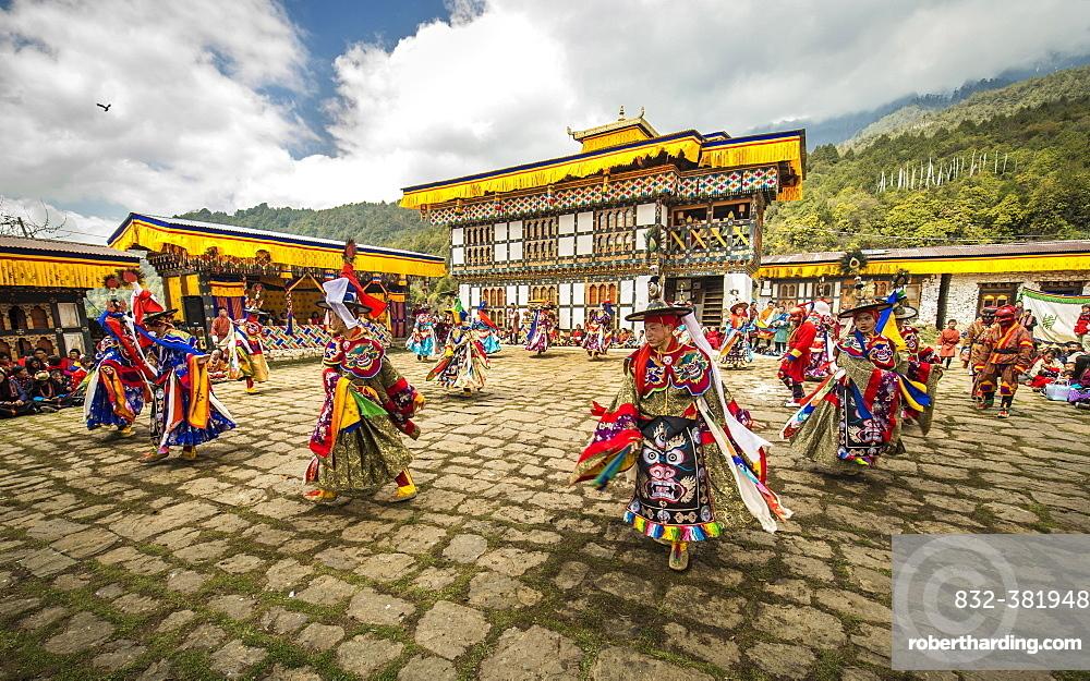 Dancer at Mask Dance, Religious Tsechu Monastery Festival, Gasa Tshechu Festival, Gasa District, Himalaya Region, Kingdom of Bhutan