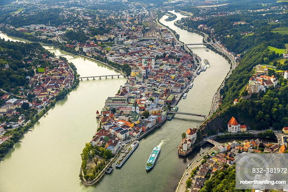 Historic centre of Passau, Veste Upper House, confluence of the three rivers Danube, Inn and Ilz, Passau, Lower Bavaria, Bavaria, Germany, Europe