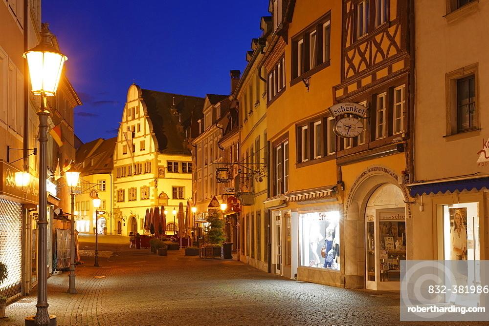 Market street with town hall, historic centre, Kitzingen, Mainfranken, Lower Franconia, Franconia, Bavaria, Germany, Europe