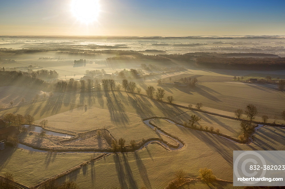 Aerial view, course of the Ahse river with meanders, renaturation, Hamm, Ruhr area, North Rhine-Westphalia, Germany, Europe