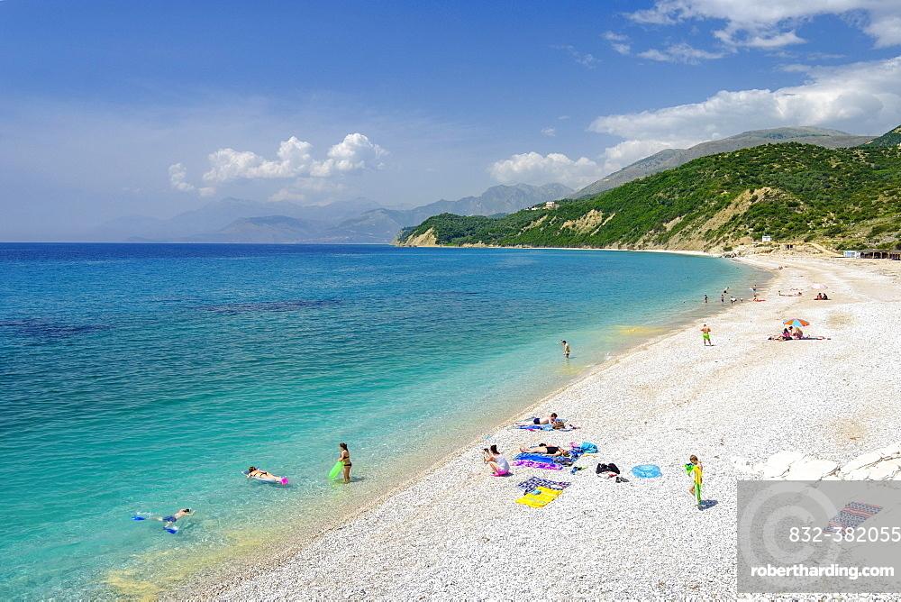 Plazhi Shpella, Lukova beach, Albanian Riviera, Ionian Sea, Qark Vlora, Albania, Europe