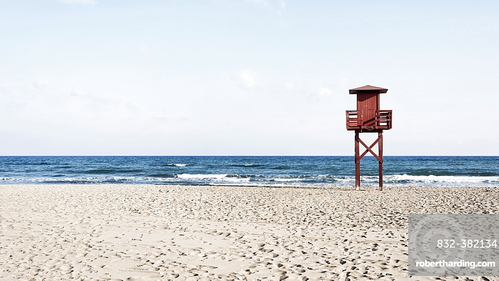 Empty beach with observation tower, Costa del Sol, Malaga, Andalucia, Spain, Europe