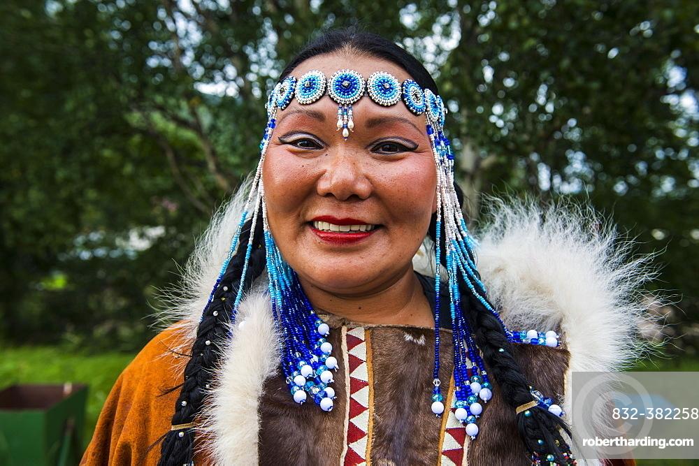 Traditional dressed Koryak woman, native people of Kamchatka, Esso, Kamchatka, Russia, Europe