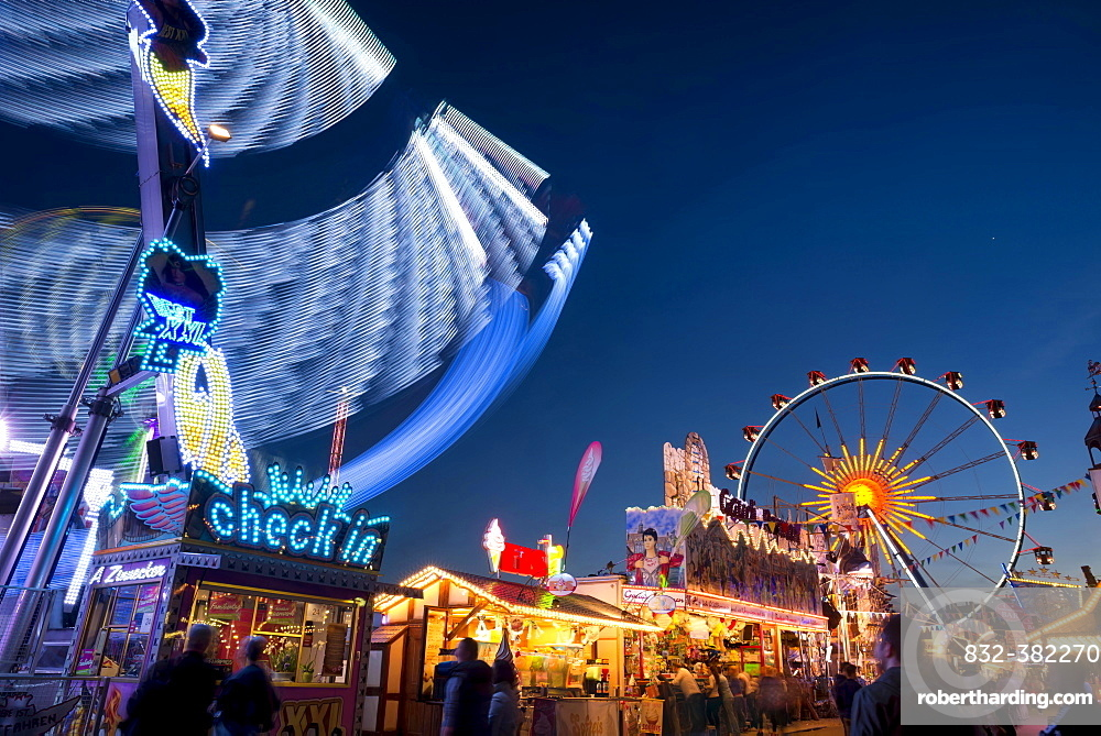 Rides and stalls at the Dippemess, traditional folk festival and sales market, Frankfurt am Main, Hesse, Germany, Europe