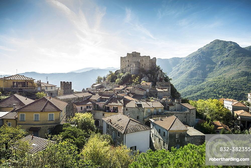 Medieval village with a castle in the mountains, Castelvecchio di Rocca Barbena, Savona Province, Liguria, Italy, Europe