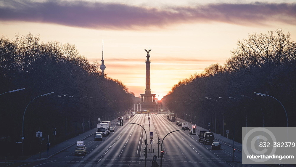 Straße des 17. Juni with Victory Column and TV Tower, Berlin, Germany, Europe