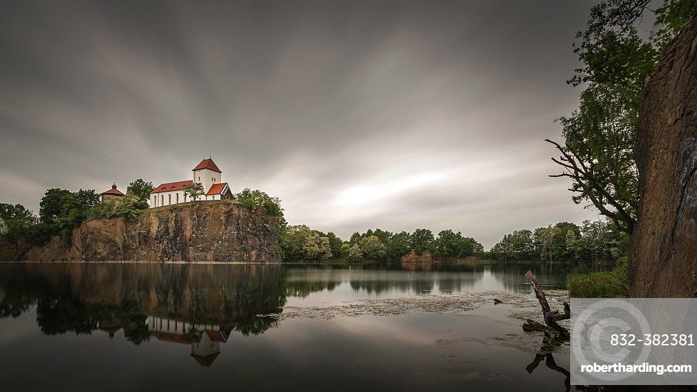Kirchberg with mountain church and water tower, cloudy sky, Beucha, Brandis, Saxony, Germany, Europe