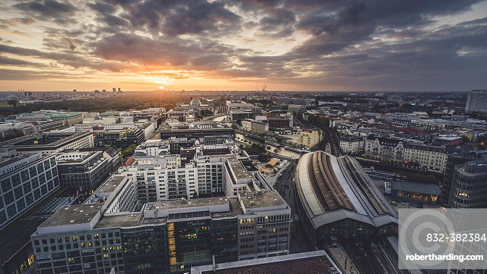 Friedrichstraße with train station at sunset, Berlin, Germany, Europe