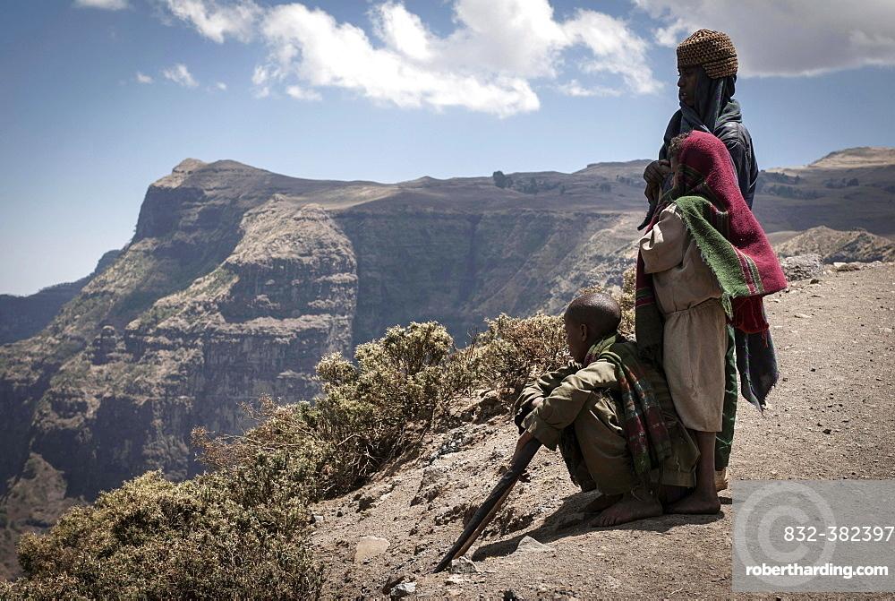 Shepherds in Simien Mountains National Park, Ras Dashen, Ethiopia, Africa