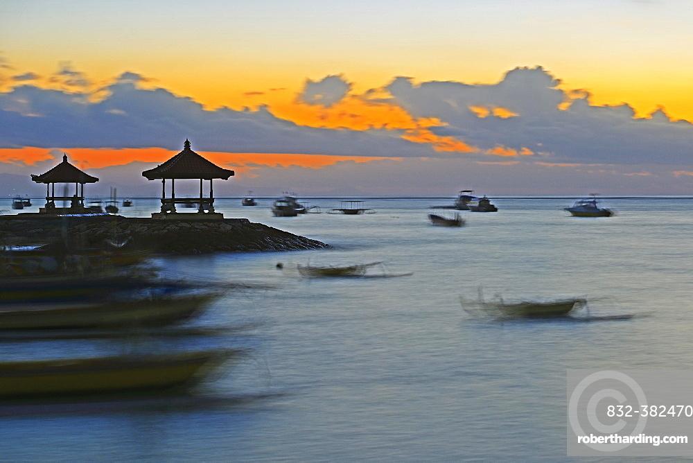 Morning sky on the beach of Sanur, Bali, Indonesia, Asia