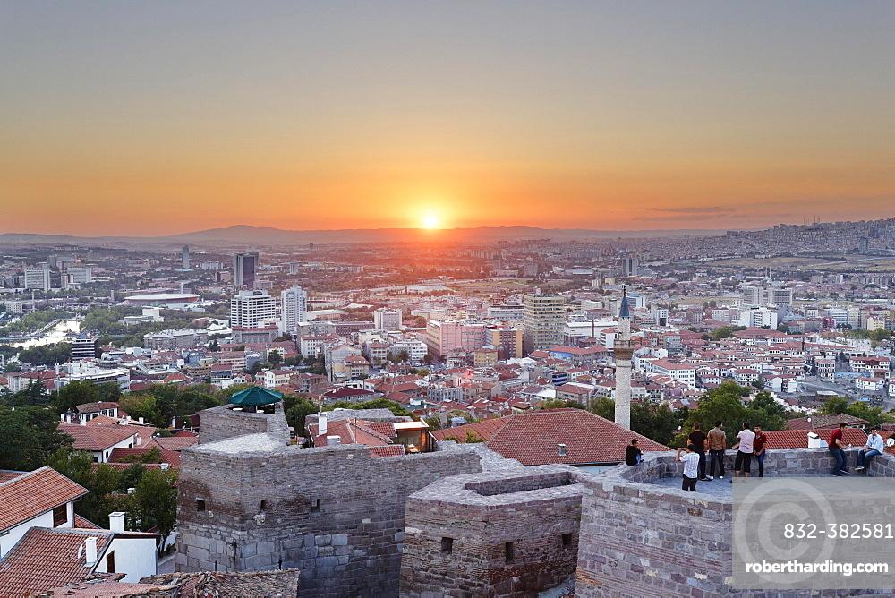 Sunset, Ankara Kalesi Castle, Ulus, Ankara, Central Anatolia Region, Anatolia, Turkey, Asia