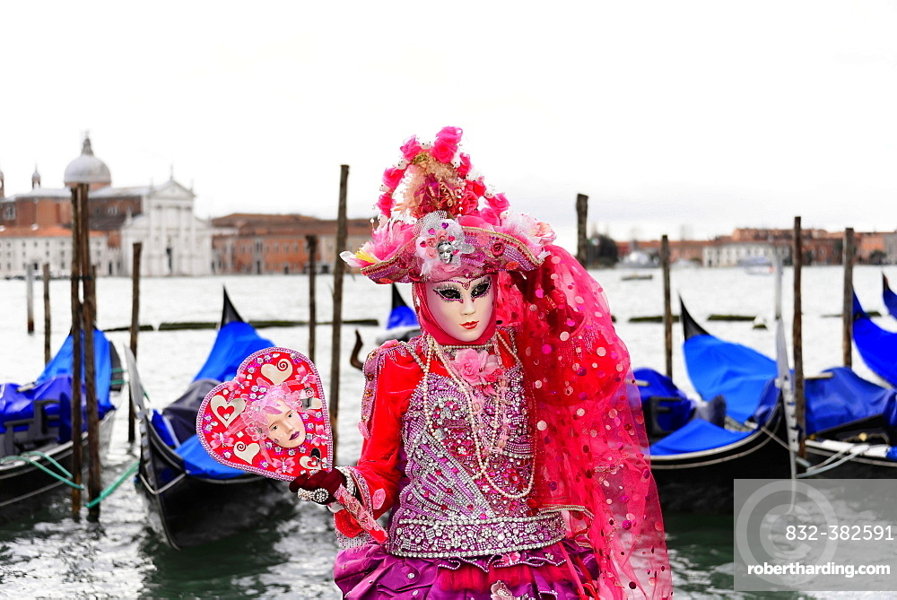 Woman in costume with a mask, carnevale, carnival in Venice, Veneto, Italy, Europe