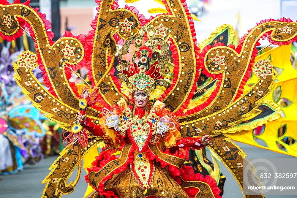 Elaborate costume at the Jember Fashion Festival, East Java, Indonesia, Asia