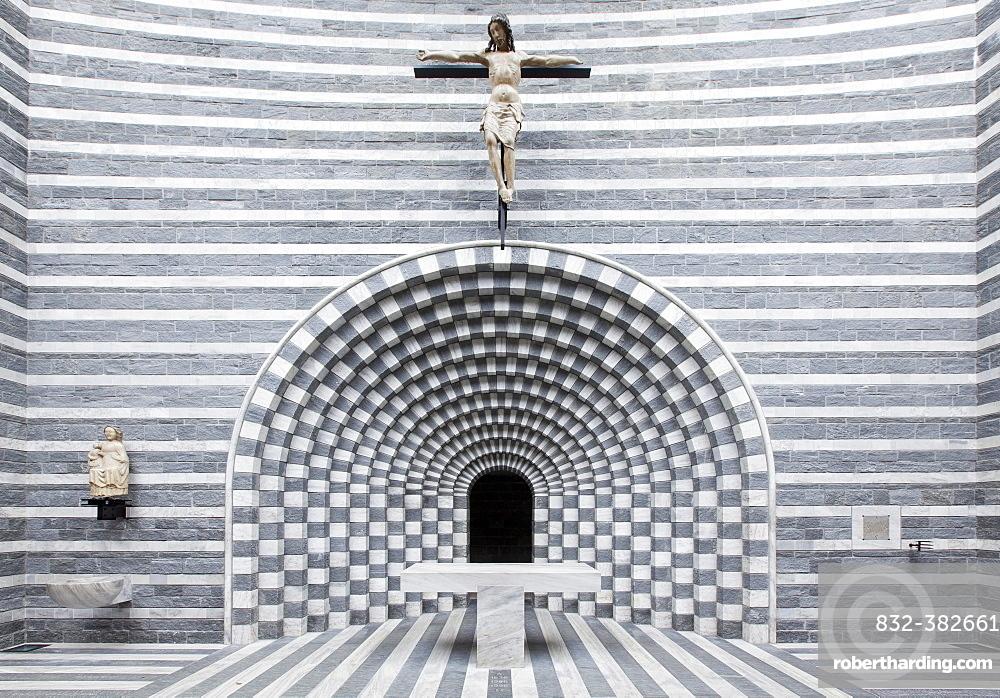 Chancel of the church Chiesa di San Giovanni Battista, architect Mario Botta, Fusio, Mogno, Lavizzara, Canton of Ticino, Switzerland, Europe