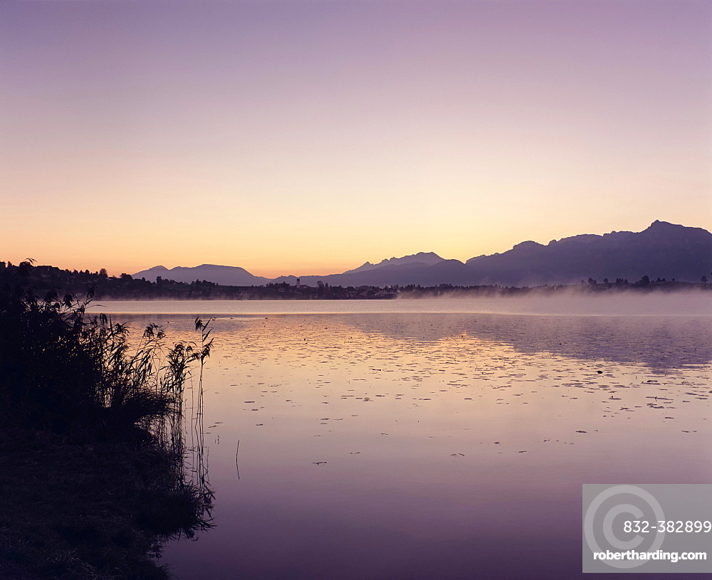 Dawn on Hopfensee lake, Ostallgau, Allgau, Upper Bavaria, Bavaria, Germany, Europe