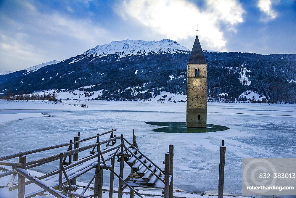 Church tower in Lake Reschen, Graun, Reschen Pass, Vinschgau, South Tyrol, Italy, Europe
