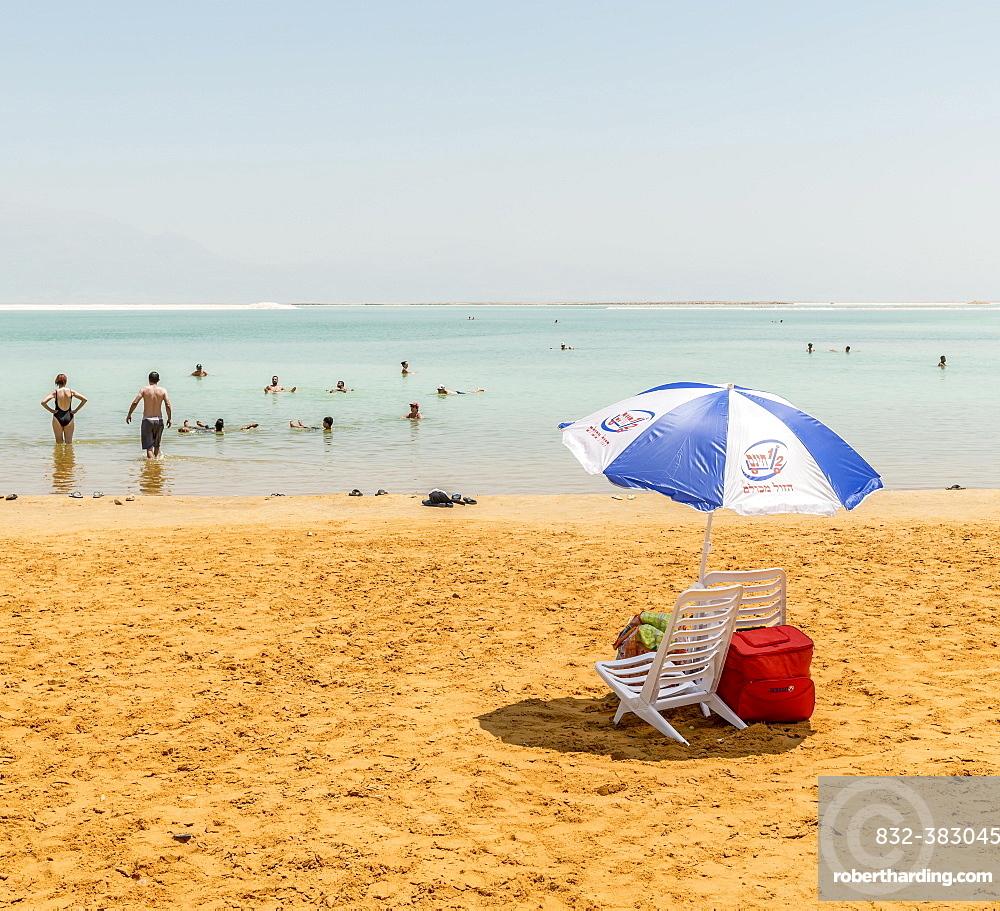 Beach chair and parasol at the beach, Ein Bokek Beach, Dead Sea, Kalia Beach, Israel, Asia