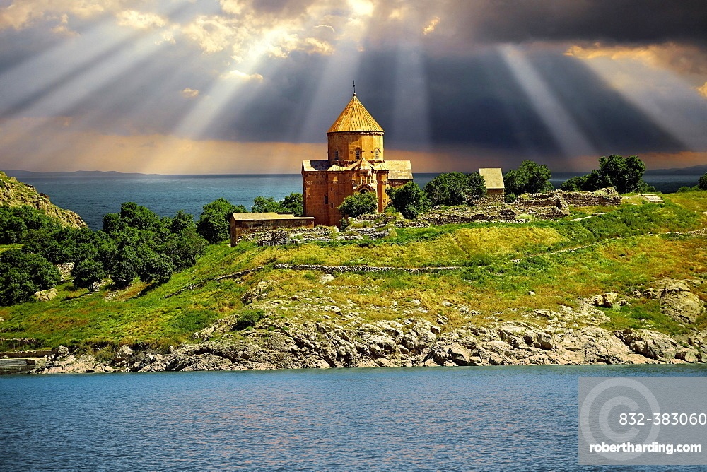 Armenian Cathedral of the Holy Cross, 10th century, Akdamar Island, Lake Van, Turkey, Asia