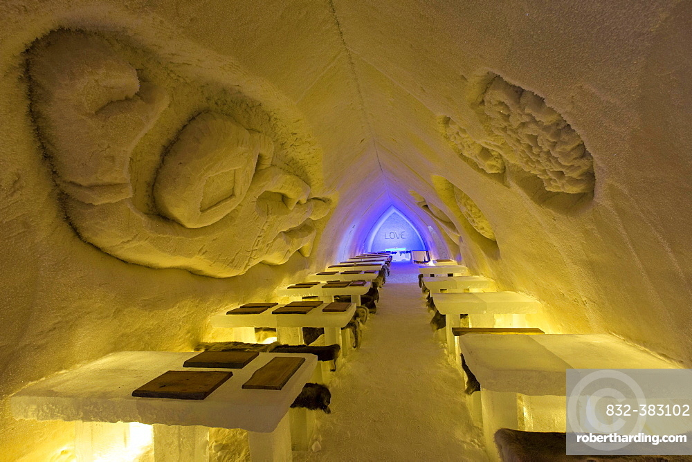 Tables and stools, Ice Hotel or Snow Hotel, Sinetta, Lapland, Finland, Europe