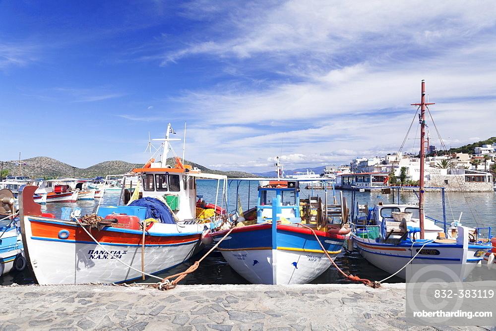 Fishing boats in the port of Elounda, Mirabello Gulf, East Crete, Crete, Greece, Europe