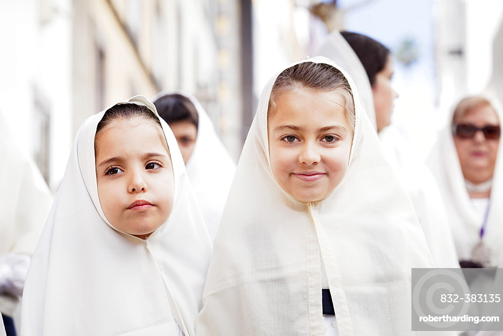 Girls taking part in the Easter procession in the historic centre, Vegueta, Las Palmas, Gran Canaria, Canary Islands, Spain, Europe