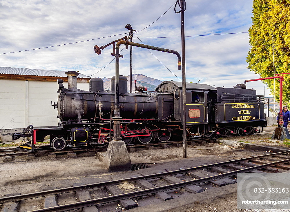 Old Patagonian Express La Trochita, steam train taking water, Esquel Train Station, Chubut Province, Patagonia, Argentina, South America