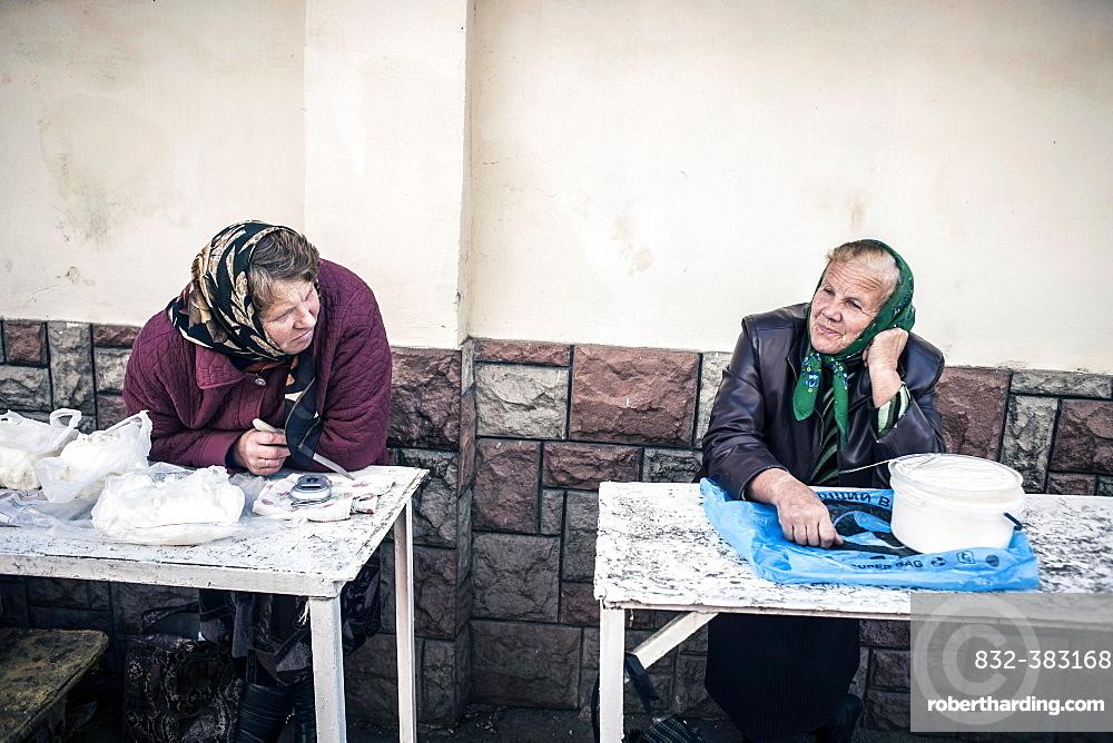 Two saleswomen on the central market, Lviv, Western Ukraine, Ukraine, Europe