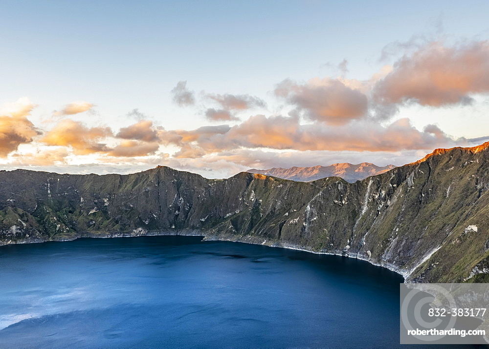 Lake Quilotoa at sunset, Cotopaxi Province, Ecuador, South America