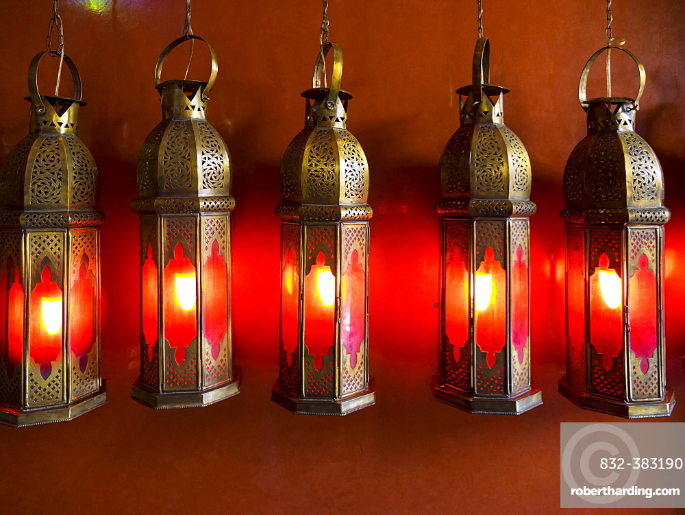 Metal lamps at Cafe Arabe, trendy meeting place, Medina, Marrakech, Marrakech-Tensift-Al Haouz, Morocco, Africa