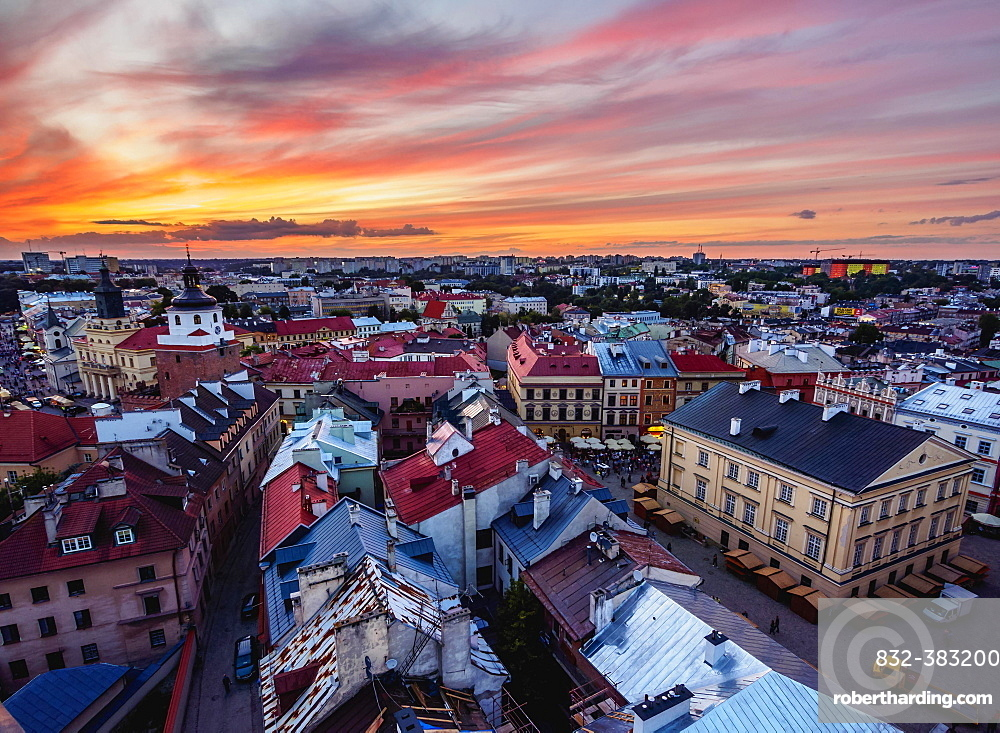 Market Square at sunset, elevated view, Old Town, Lublin, Poland, Europe