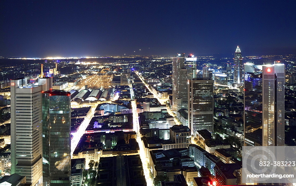 Central station and railway station district, high-rise buildings in the financial district, Fair Tower, at night, Frankfurt am Main, Hesse, Germany, Europe
