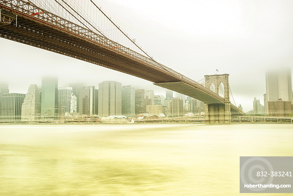 Brooklyn Bridge with views of Manhattan, New York City, New York, United States, North America