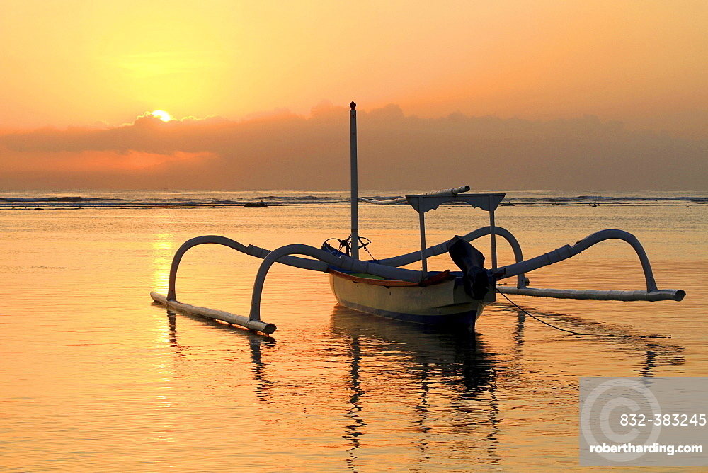 Fishing boat, beach, sunrise, Sanur, Bali, Indonesia, Asia
