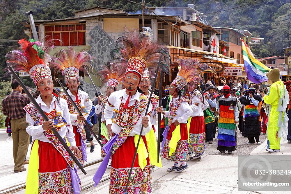 Traditional parade in Aguas Calientes, Peru, South America