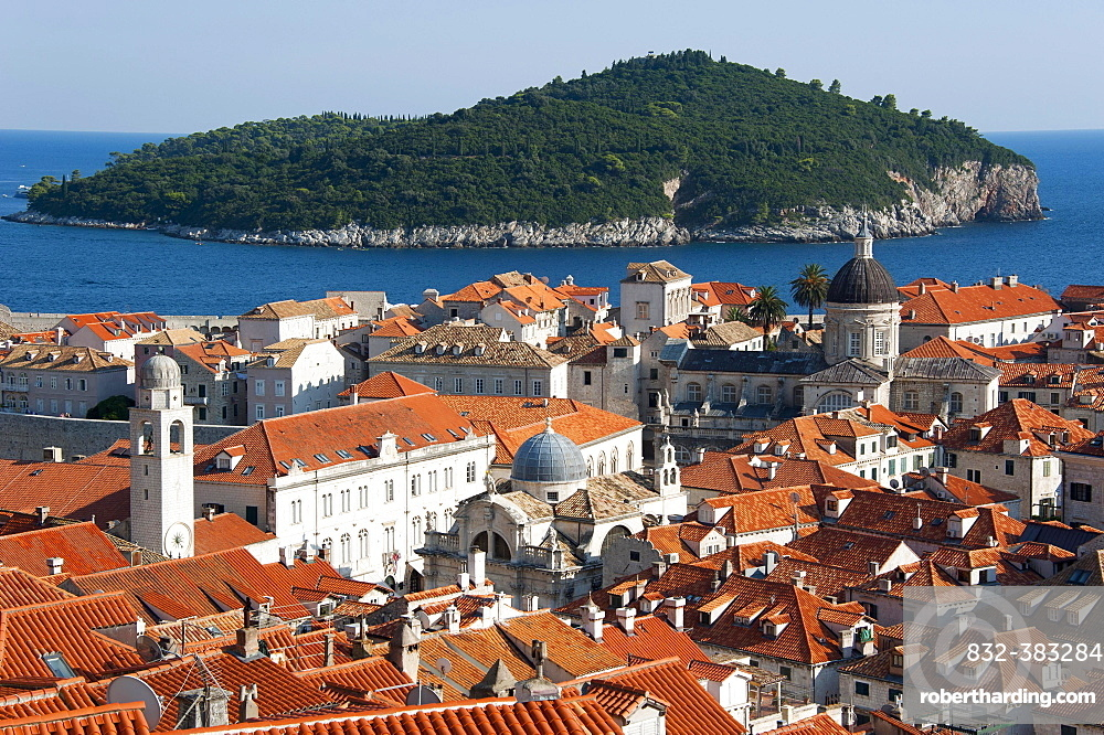 View from the city wall over the historic town centre towards the island of Lokrum, Dubrovnik, Dalmatia, Croatia, Europe