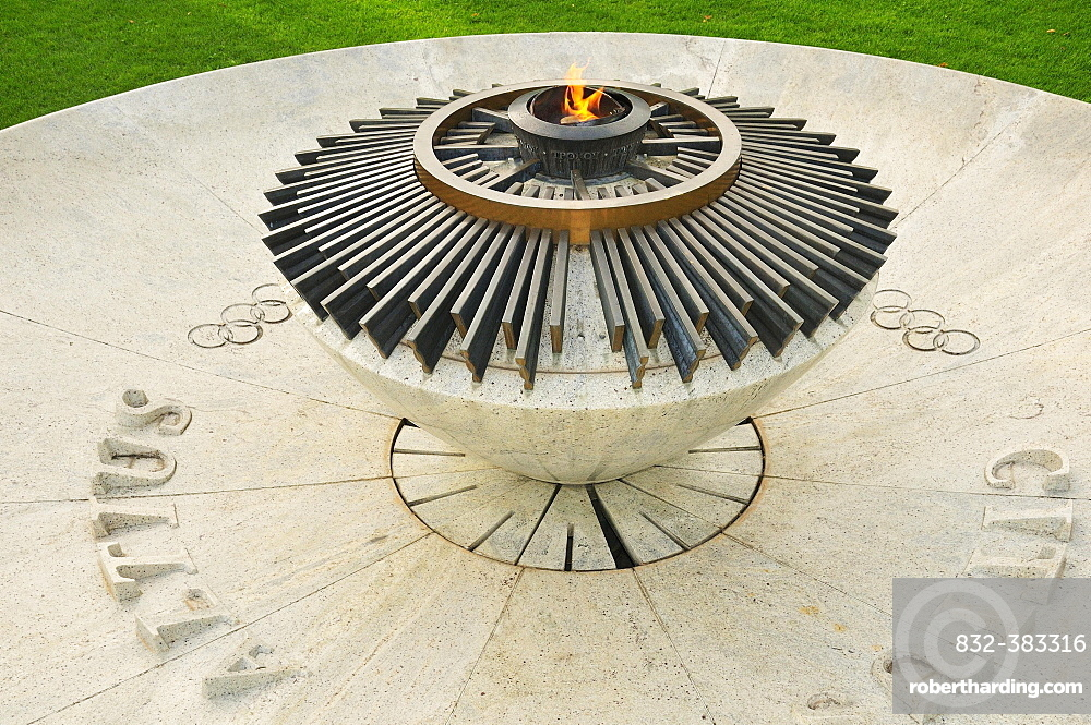 Constantly burning Olympic flame at the Museum Park, Olympic Museum, Lausanne, Canton of Vaud, Switzerland, Europe