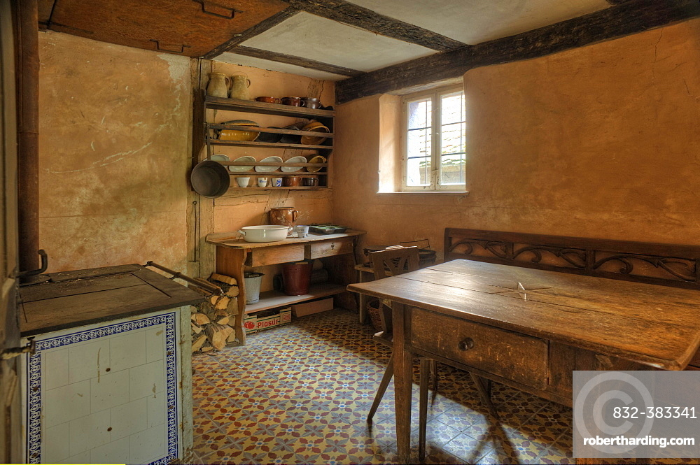 Kitchen of a poor winegrower, Hackerhaus, mid-19th century, Franconian Open Air Museum of Bad Windsheim, Middle Franconia, Bavaria, Germany, Europe