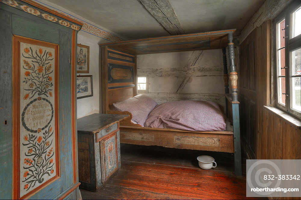 Bedchamber in a peasant's house after 1860, Franconian Open Air Museum of Bad Windsheim, Middle Franconia, Bavaria, Germany, Europe