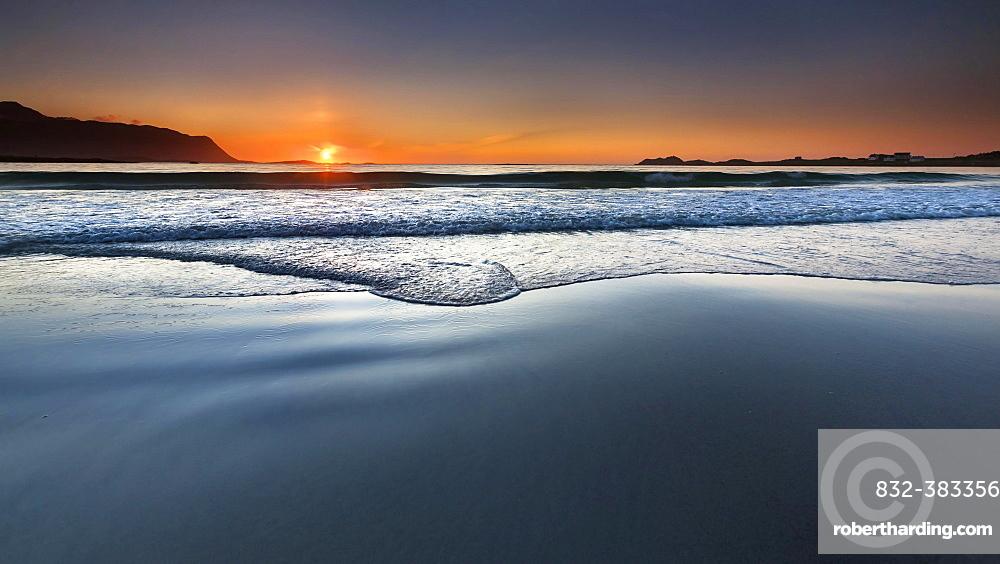 Sunset on the beach of Ramberg, Flakstad Flakstadoy, Lofoten, Nordland, Norway, Europe