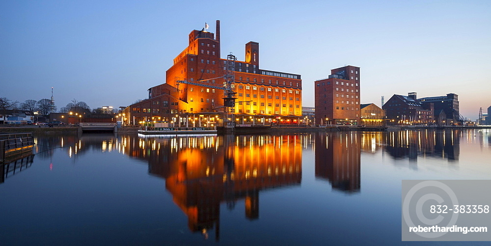 Werhahnmuhle, former silo and mill building, inner harbour, Duisburg, Ruhr district, North Rhine-Westphalia, Germany, Europe