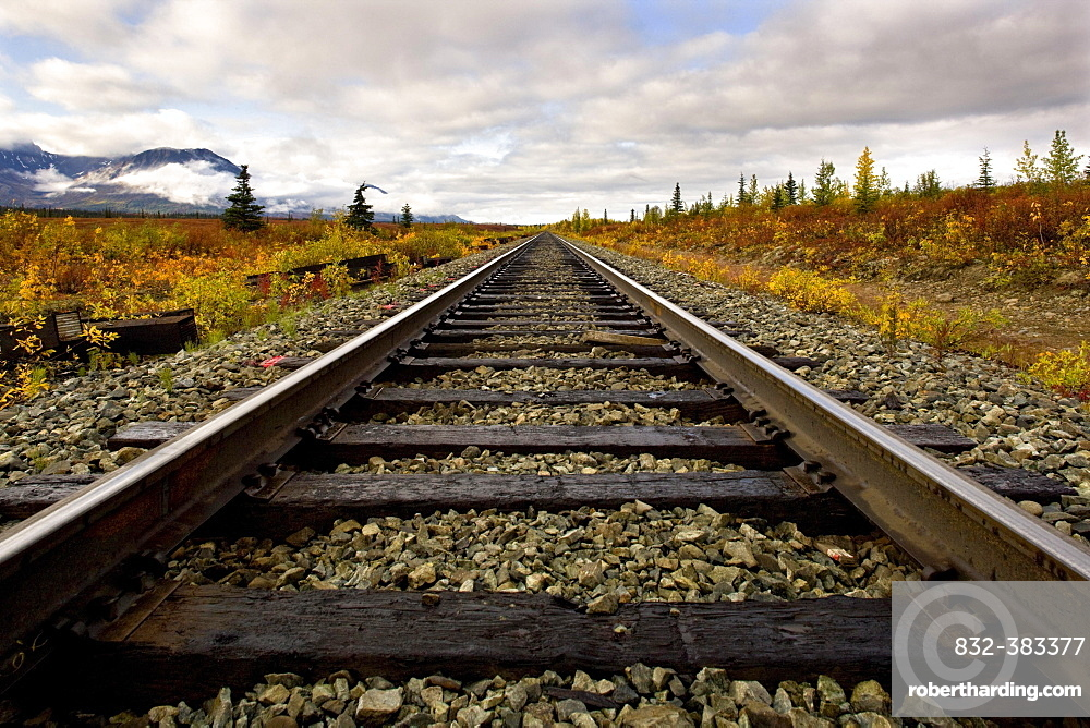 Railroad track, Fairbanks, Alaska, USA, North America